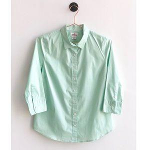 J CREW Haberdashery Refined Stretch Shirt Green